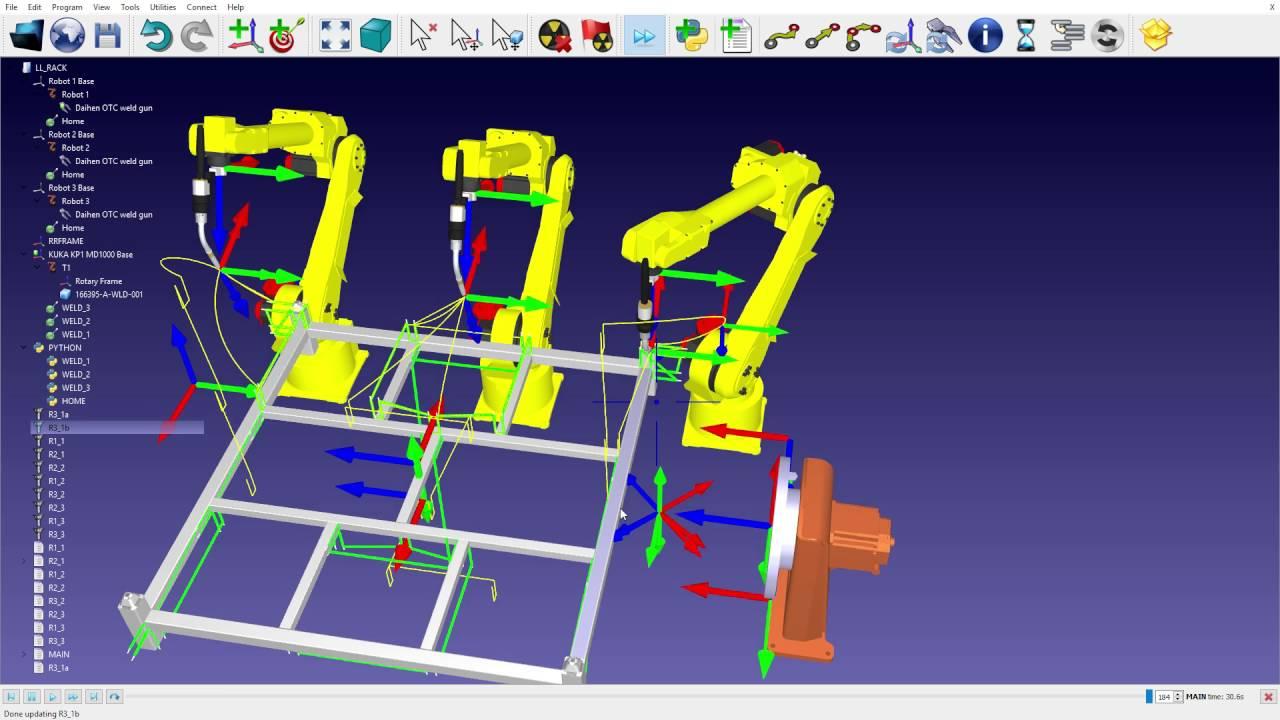 Welding with 3 Fanuc robots - RoboDK