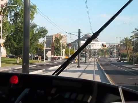 Phoenix Valley Metro Light Rail ride forward view ONE May 2011