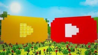 Битва построек — Нуб против Нуба — Золотая Кнопка Ютуб в Майнкрафт
