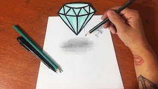 COMO DESENHAR DIAMANTE 3D (MUITO FÁCIL) - PASSO A PASSO