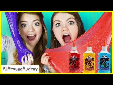 3 Colors of Glue Slime Challenge! / AllAroundAudrey