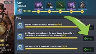 Call Of Duty Mobile Kill 3 Enemies with the Baseball Bat Melee Weapon Task Complete