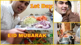 EID DAY VLOG 01 - SURPRISE TO MY FAMILY *COOK PASTA AND CHICKEN KORMA* !!! (PAKISTAN VLOG)