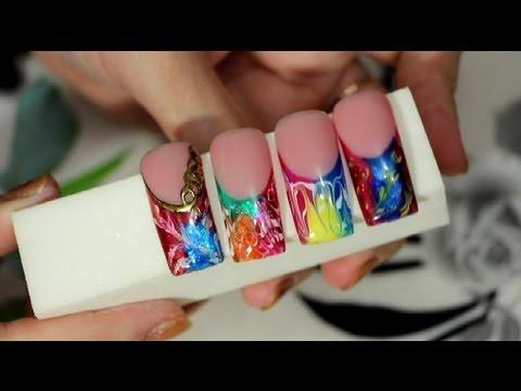Дизайн ногтей с витражным гелем фото