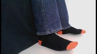 Men's socks - black with orange toes & heels