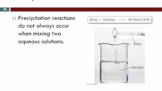 chemistry lab percipitation reactions Precipitation reactions: a precipitate is a solid that forms out of solution a common example is that of the mixing of two clear solutions: (1.