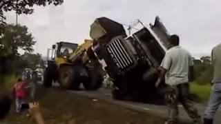 truck recovery gone wrong, funny heavy equipment accidents, extreme trucking - big trucks accidents