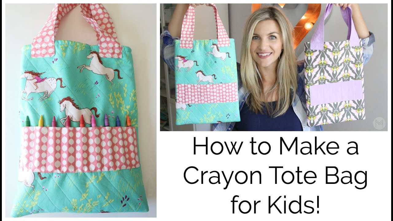 How To Make A Book Bag : How to sew a crayon tote bag for kids youtube