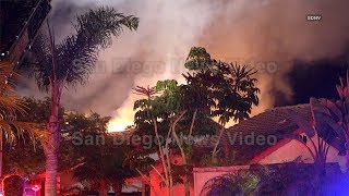 Firefighters battle a second 2nd alarm fire overnight, Encinitas (San Diego)