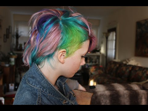 Dying Hair Pink, Blue, Purple, and Green/Yellow undercut.