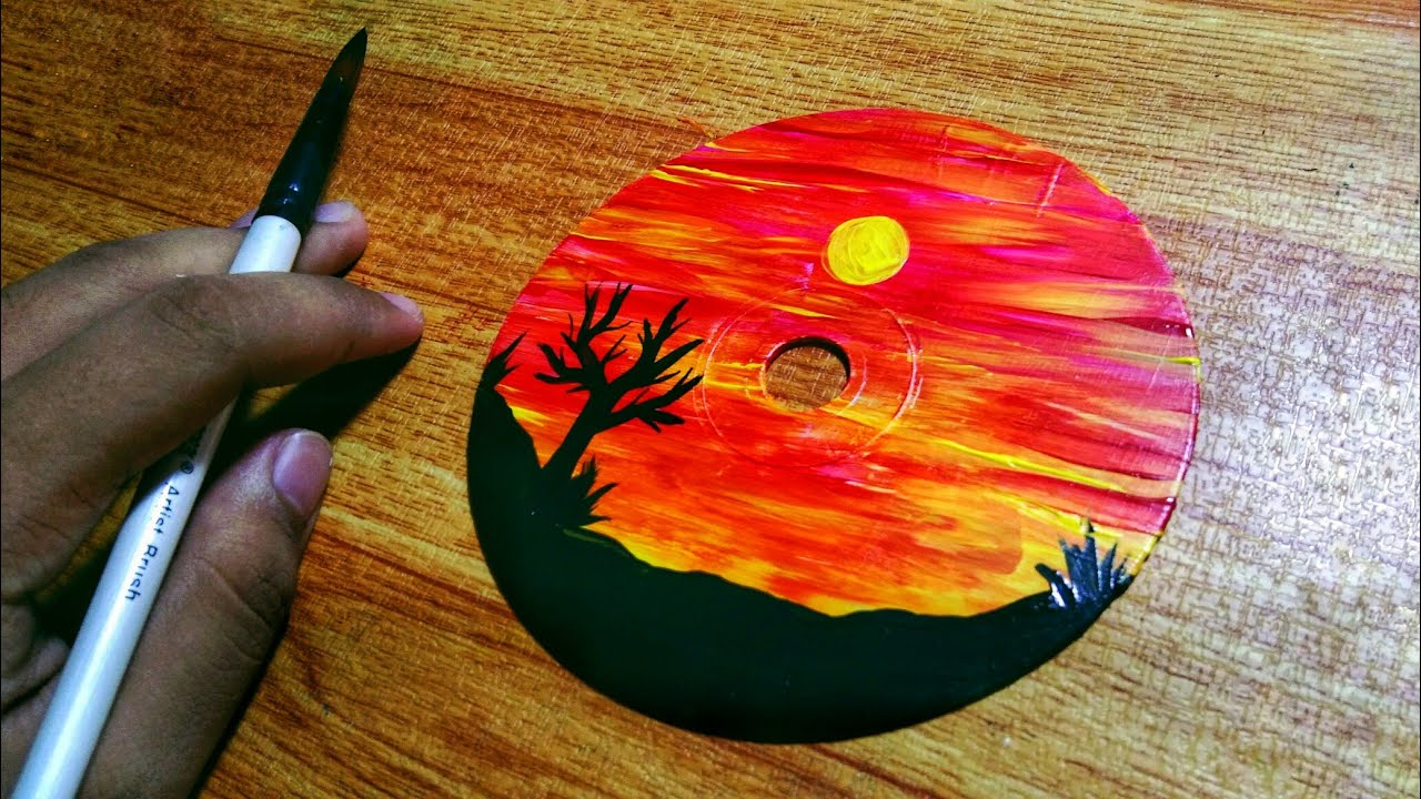 How To Paint On A Cd Step By Step Tutorial Youtube