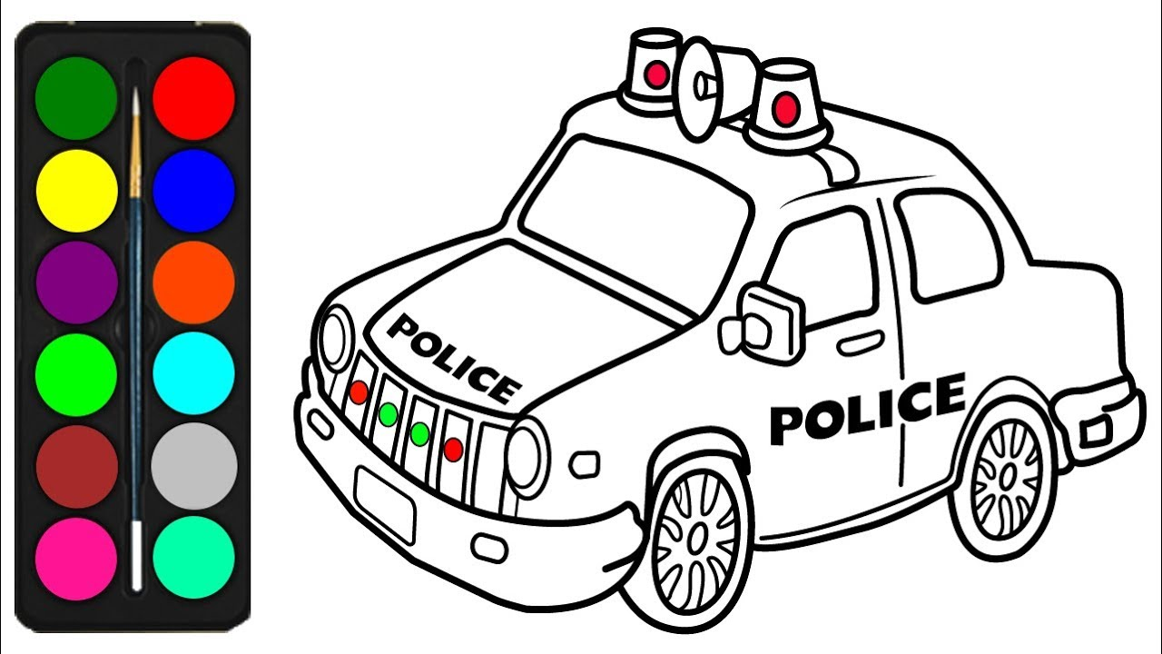 Police Car Coloring Pages for kids - Draw a Police Car ...