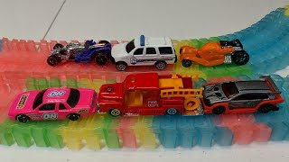 Race Car, Fire Truck, #cars Thomas the train, Police car on Racing Track Video