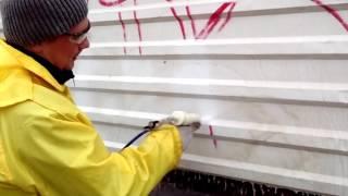 Очистка граффити без повреждения окраски.(Очистка мягким бластингом АГД при помощи установки MINIBLAST. - Эта установка работает от МАЛЕНЬКОГО компрессо..., 2015-11-23T11:37:21.000Z)