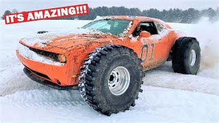 "DODGE CHALLENGER ON 44"" MUD BOGGERS DESTROYS SNOW STORM..."