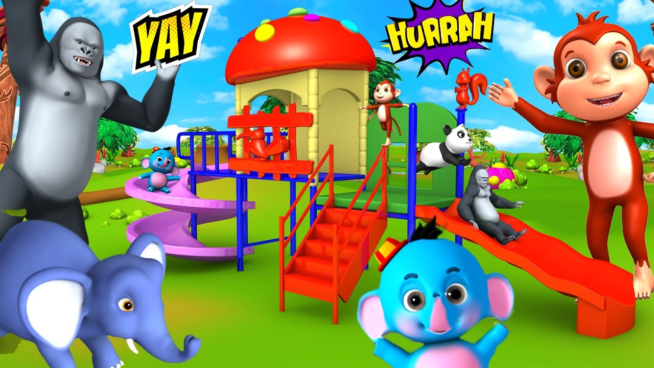 Funny Gorilla and Monkey Play Area Slider Ride with Farm Animals - 3D Cartoons Animal Comedy Videos