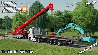 Delivering & installing mobile bridge   Public Work Stappenbach   Farming Simulator 19   Episode 7