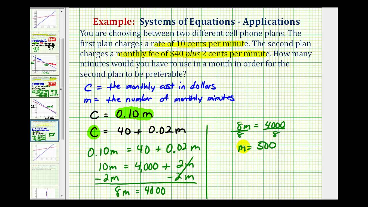 Ex: System of Equations Application - Compare Phone Plans