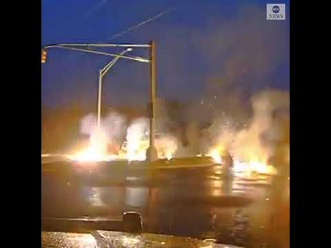 Utility worker narrowly escapes live wire, fire | ABC News