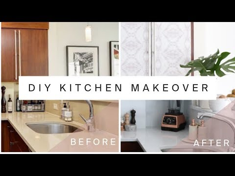 RENTAL KITCHEN MAKEOVER | DIY Marble Countertops & Cabinet Transformation With Contact Paper