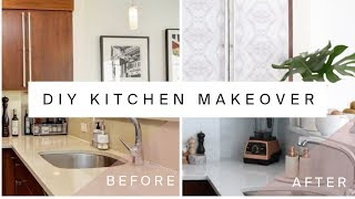 RENTAL KITCHEN MAKEOVER   DIY Marble Countertops & Cabinet Transformation With Contact Paper