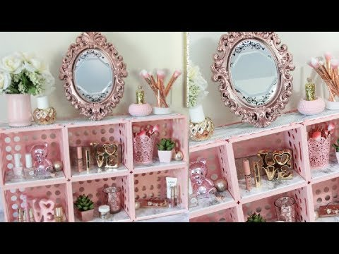 DOLLAR TREE MARBLE AND PINK CUBE ORGANIZER DIY