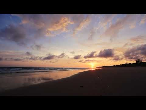 Colourful Beach Landscape Free Stock Footage with Sound of Waves | Sunrise Travel and Ocean Videos