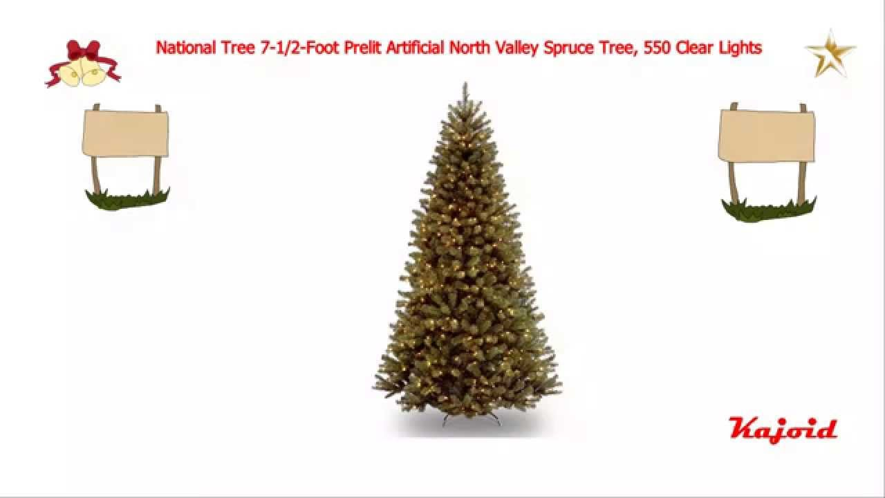 National Tree 7 1 2 Foot Prelit Artificial North Valley Spruce Tree 550 Clear Lights