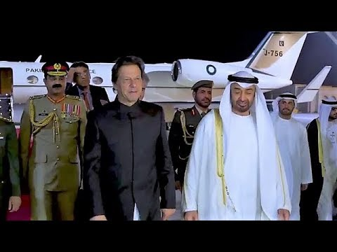 PM Imran Khan Warmly Received by Crown Prince HH Sheikh Mohammed bin Zayed Al Nahyan during his UAE