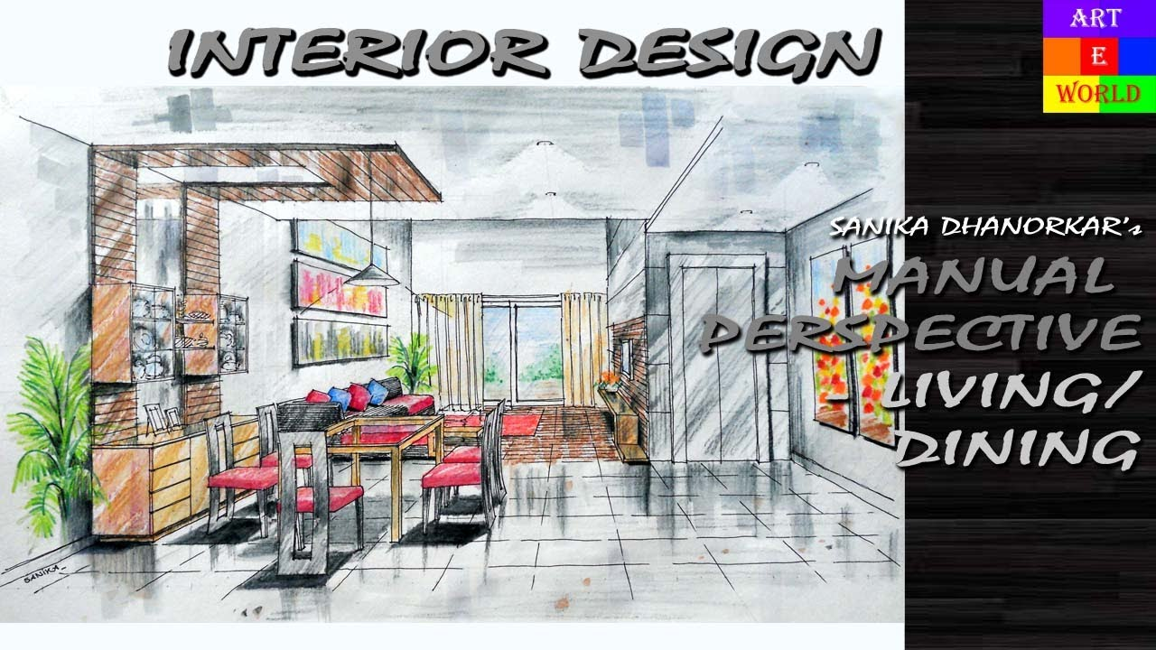 21 Manual Rendering 1 Point Interior Perspective