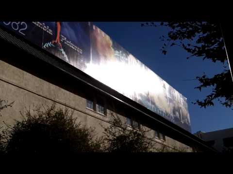 Old Columbia Pictures anniversary history banner at Sony Studios