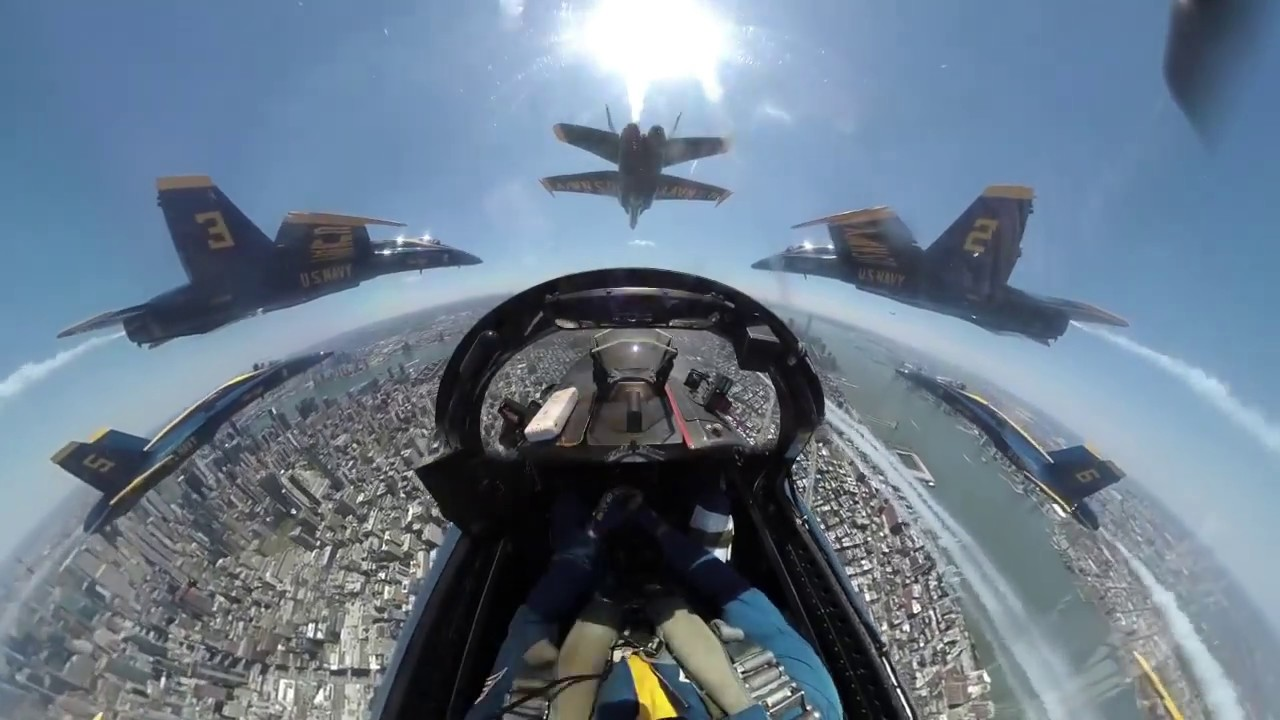 Amazing in-flight video of the Blue Angels and Thunderbirds over New York, New Jersey and Philly