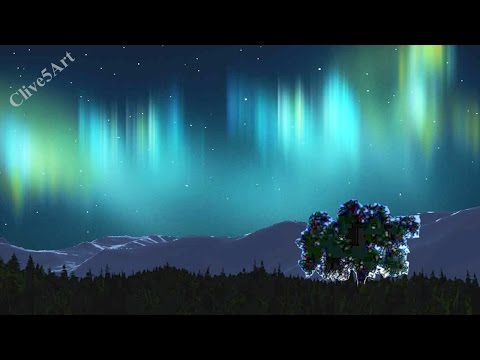 Aurora Borealis with nebula with stars | Easy First Acrylic painting for beginners,#clive5art