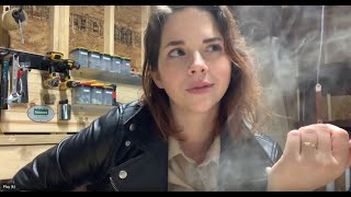 ASMR Smoking Cigarettes and Cigars in a Leather Jacket and Leather Gloves