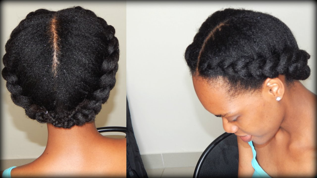 Braided Updo Styles For Natural Hair: 2 Side Braids (4B/4C Hair) - YouTube