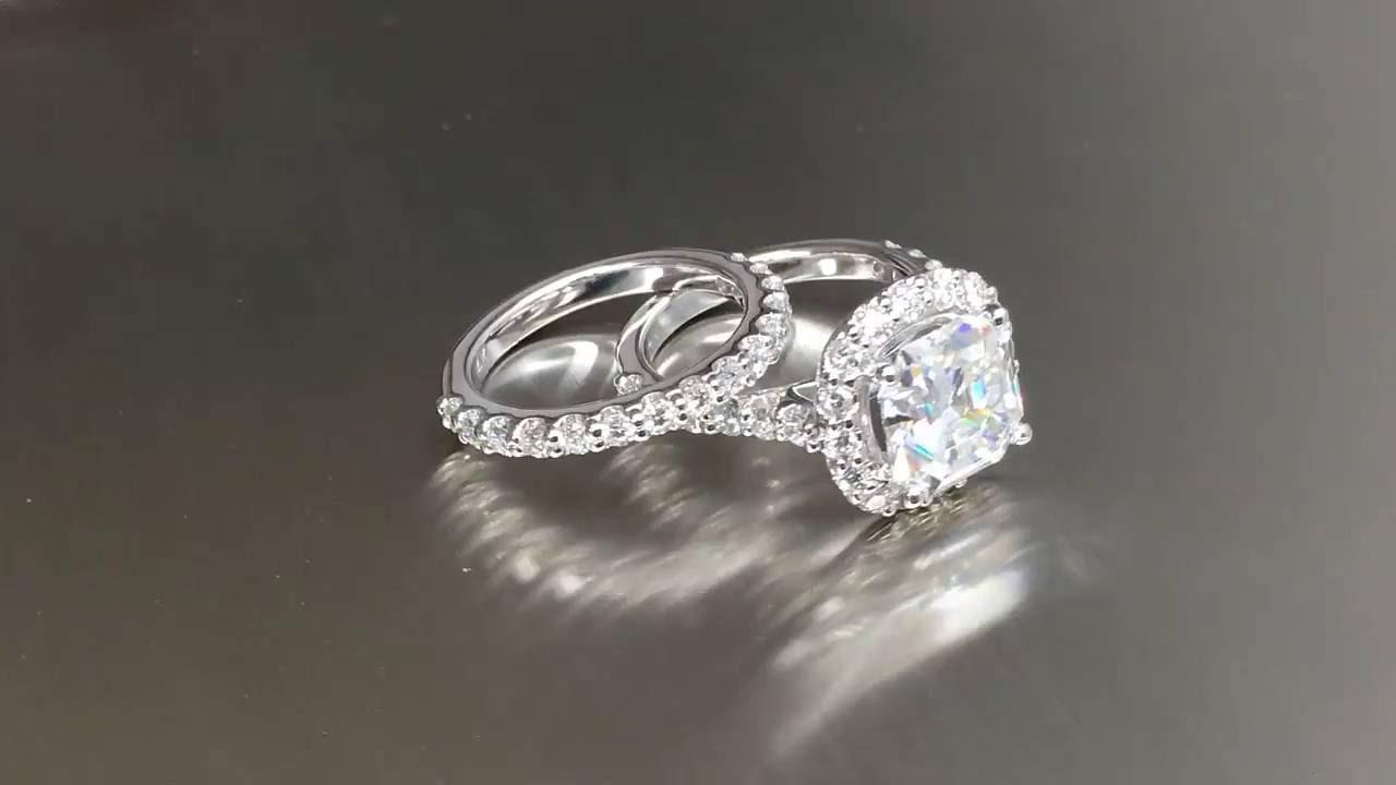 Completely new 3 Carat Asscher Cut Forever One Moissanite Engagement Ring - YouTube BO41