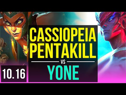CASSIOPEIA vs YONE (MID) | Pentakill, KDA 21/1/3, 2 early solo kills | KR Diamond | v10.16