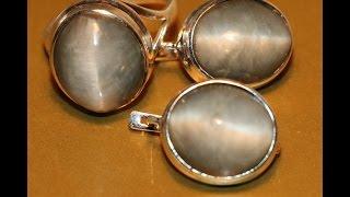 """Кольцо серьги кошачий глаз-цимофан-хризоберилл-серебро 925""""КОШКА"""""""