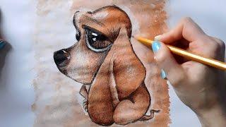 Рисуем карандашом и раскрашиваем гуашью СОБАЧКУ, Собаку, Щенка / Drawing and coloring a DOG