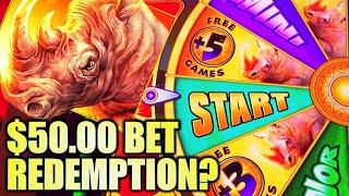 ★$50 BET REDEMPTION?!★ FINALLY GOT THE BONUS!! NEW RAGING RHINO RAMPAGE Slot Machine Bonus