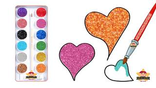Bé Tập Vẽ Và Bé Tô Màu Kim Tuyến Hình Trái Tim siêu dễ thương | Day Be Online
