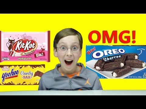 OREO CHURROS, RED VELVET KIT KAT BAR, YOOHOO CHOCOLATE BAR CANDY TASTE TEST REVIEW | COLLINTV