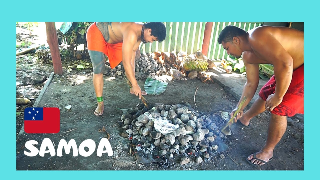 Download SAMOA: Delicious food prepared in an UMU (EARTH OVEN) 🐟🐖, the whole process! (Pacific Ocean)