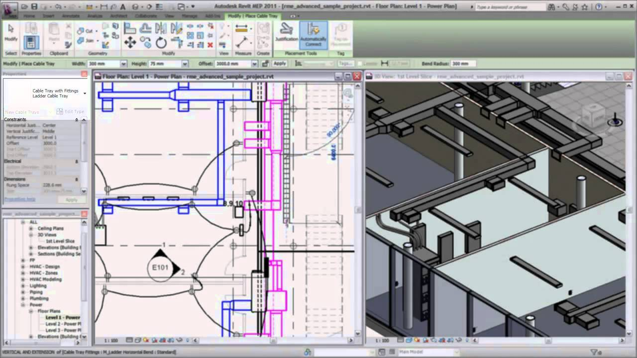 Placing Cable Tray In Revit Mep 2011 Youtube