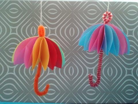 DIY, Paper umbrella decoration, tutorial, 3D