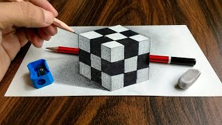 3D Trick Art on Paper Realistic Cube