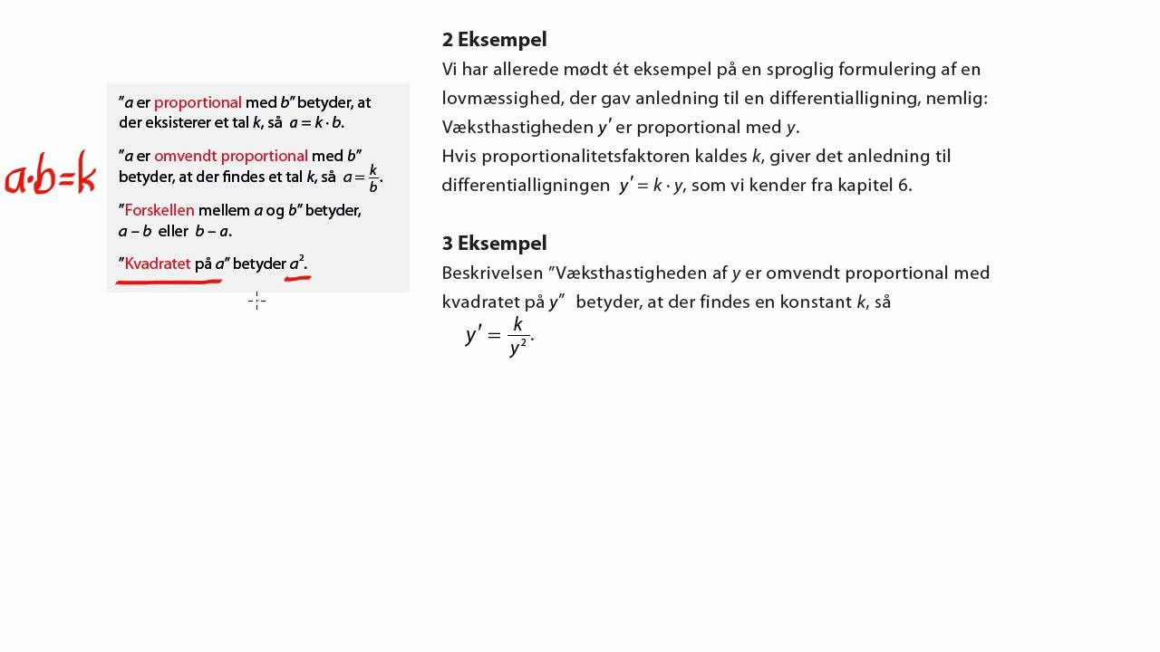 Eks. 2: Sproglige vendinger og differentialligninger