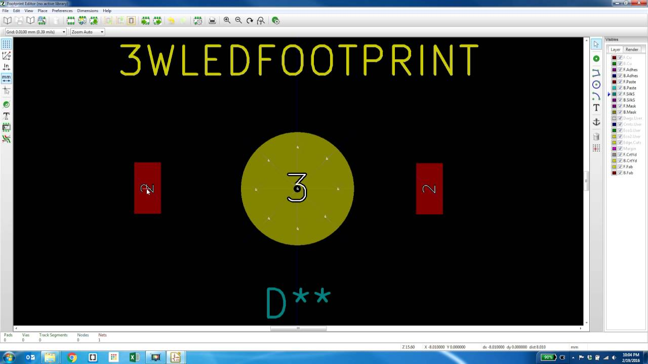 Making PCB footprint with thermal vias in kicad