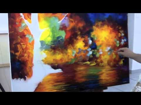 A sped up video of Leonid Afremov making a recreation of Colorful Night