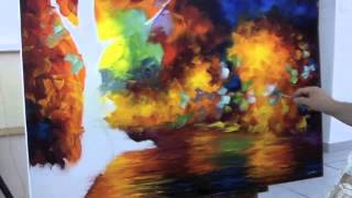 Repeat youtube video A sped up video of Leonid Afremov making a recreation of Colorful Night